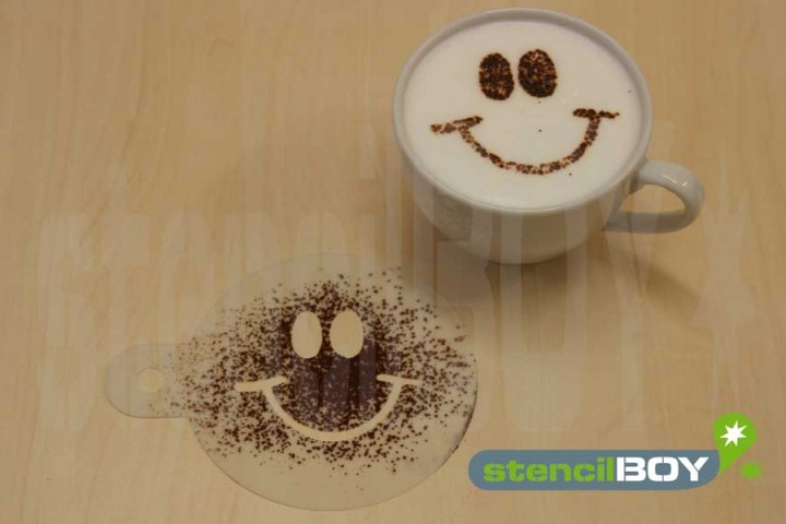 "Cappuccino coffee stencil ""Smiley - Rene"""