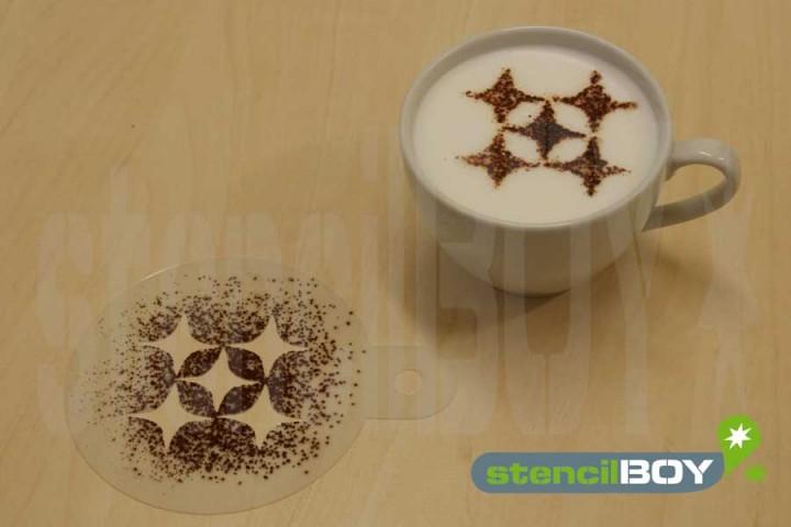Cappuccino Schablone Rhombenmuster