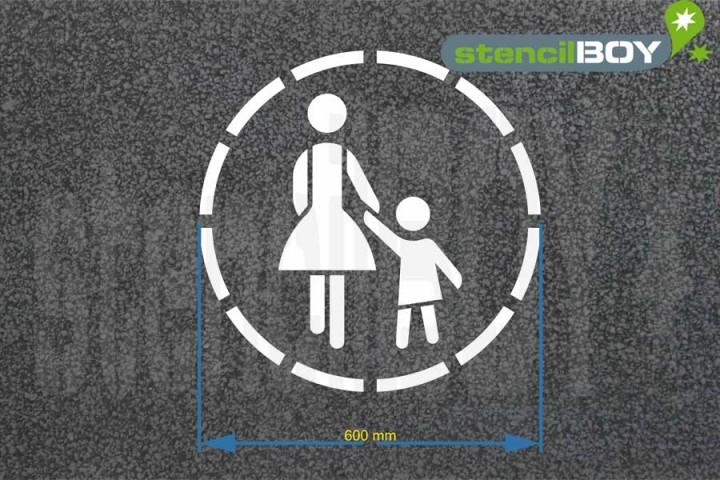 """""""Mutter mit Kind"""" RUND Bodenmarkierungs-Schablone"""