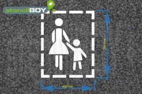 """""""Mutter mit Kind"""" Bodenmarkierungs-Schablone medium"""