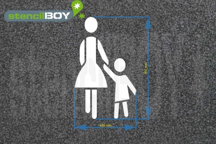 """""""Mutter mit Kind"""" Bodenmarkierungs-Schablone"""