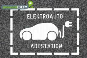 """""""Elektroauto - Ladestation"""" Bodenmarkierungs-Schablone mit Rahmen"""