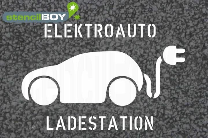 """""""Elektroauto - Ladestation"""" Bodenmarkierungs-Schablone"""