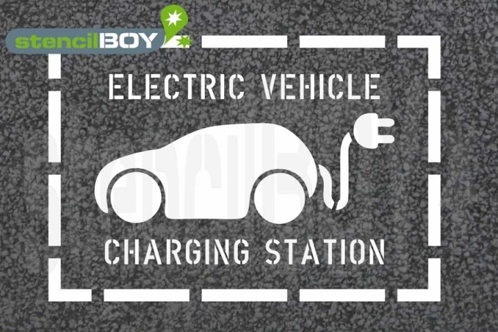 """Electric Vehicle - Charging Station"" Floor marking stencil with frame"