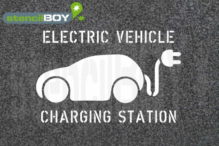 """Electric Vehicle - Charging Station"" Bodenmarkierungs-Schablone"