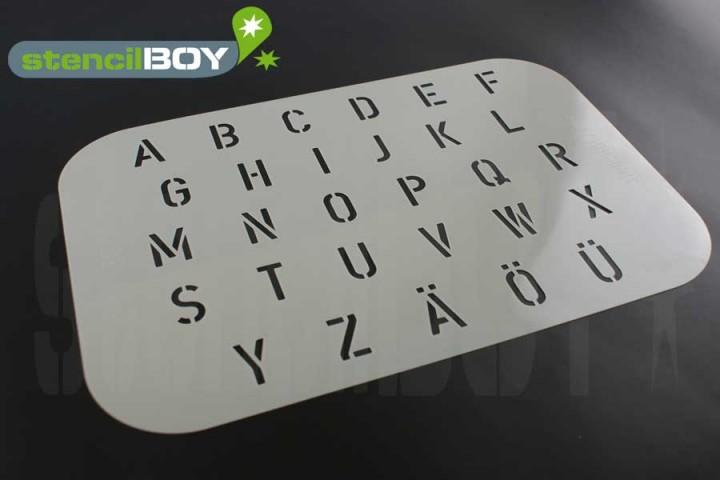 Buchstabenschablone nach DIN 1451 inkl. Umlaute