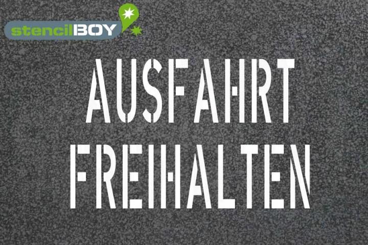 """""""AUSFAHRT FREIHALTEN"""" Bodenmarkierungsschablone"""