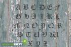 200mm Buchstabenschablonen A-Z altdeutsche Schrift AD mit Sprühnebelschutz