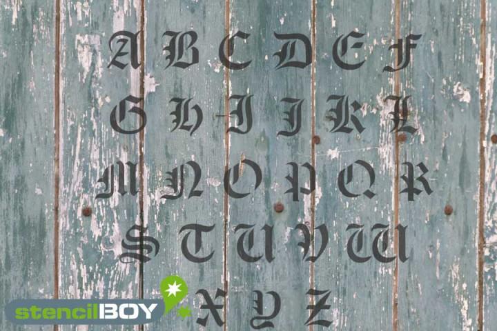 Buchstabenschablone altdeutsche Schrift AD