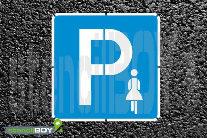 """""""Frauenparkplatz"""" Bodenmarkierungs-Schablonenset"""