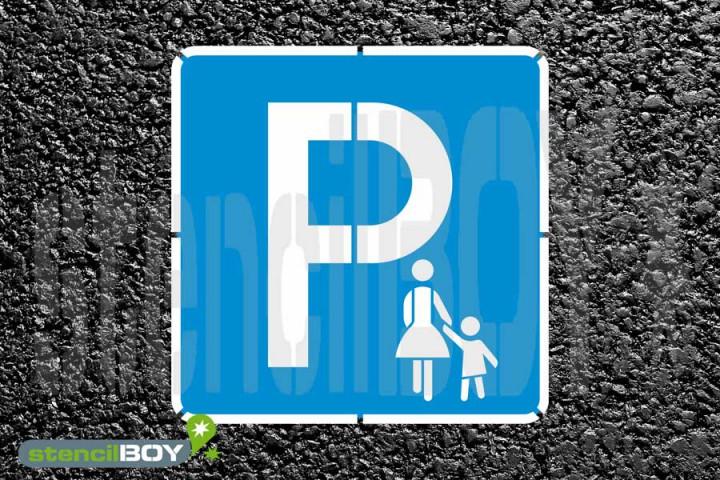 """""""Mutter-Kind Parkplatz bzw. Eltern-Kind Parkplatz"""" Bodenmarkierungs-Schablonenset"""