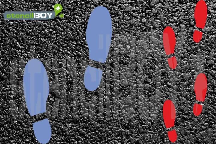 """""""Schuhabdruck - Fußabdruck"""" Bodenmarkierungs-Schablonen Set1 (Links/Rechts)"""