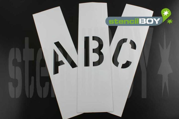 150mm Buchstaben Magnetschablone nach DIN 1451 mit Sprühnebelschutz