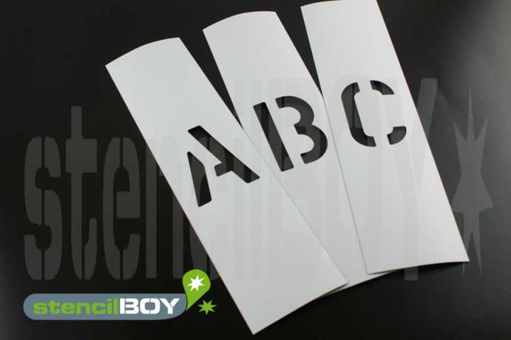 100mm Magnet-Buchstabenschablonen A-Z nach Font AE mit Sprühnebelschutz