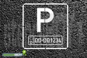 Parkschablone mit individuellem Autokennzeichen