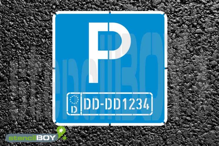 Parkschablonenset mit individuellem Autokennzeichen