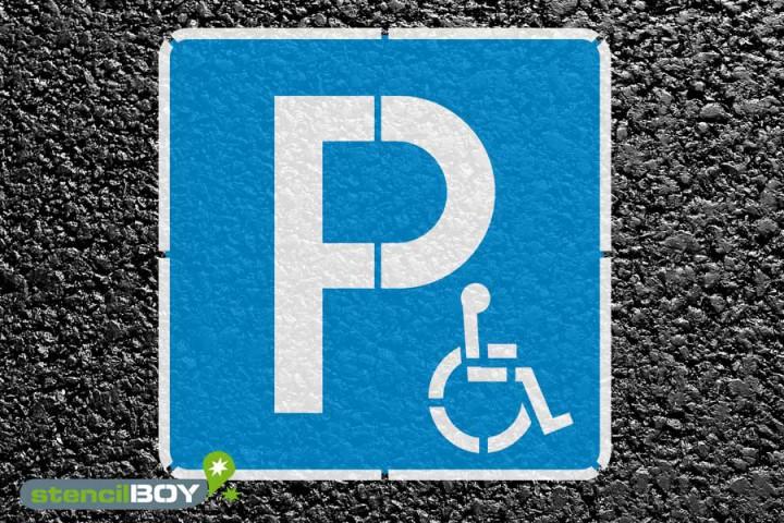 """""""Behindertenparkplatz"""" Bodenmarkierungs-Schablonenset"""