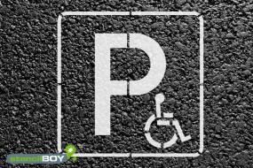 """""""Behindertenparkplatz"""" Bodenmarkierungs-Schablone"""
