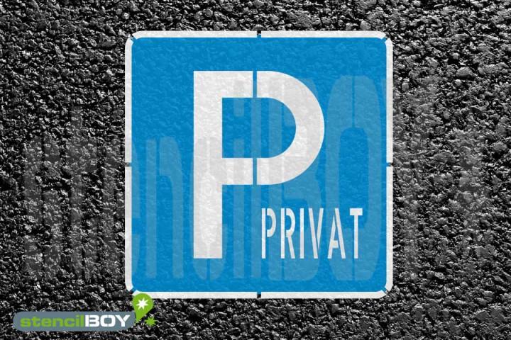 """""""PRIVAT-Parkplatz"""" Bodenmarkierungs-Schablonenset"""