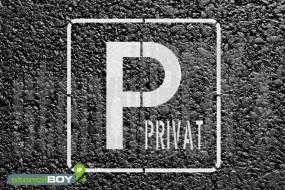 """""""PRIVAT-Parkplatz"""" Bodenmarkierungs-Schablone"""