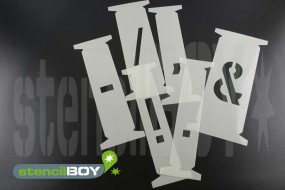 einzelne Zeichenschablonen passend zu 600mm Steckschablonen nach DIN 1451