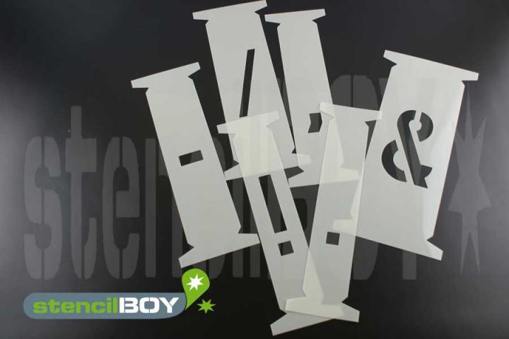 einzelne Zeichenschablonen passend zu 100mm Steckschablonen nach DIN 1451