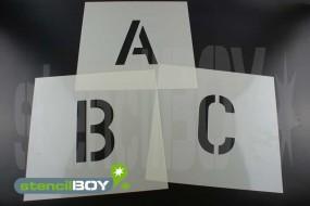 30 bis 70mm Buchstabenschablonen nach DIN 1451 mit Sprühnebelschutz