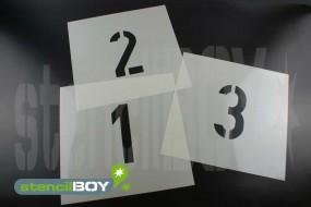 Zahlenschablonen 0-9 nach DIN 1451 mit Sprühnebelschutz