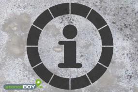 """""""Piktogramm - INFO"""" Boden- und Wandmarkierungsschablone"""