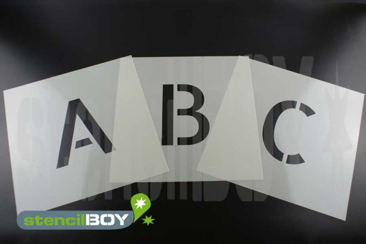 250mm Buchstabenschablonen Font AL mit Sprühnebelschutz