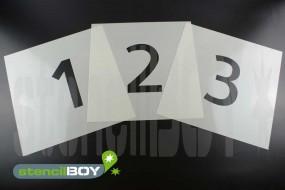 20mm bis 150mm Zahlenschablonen 0-9 Font AL mit Sprühnebelschutz