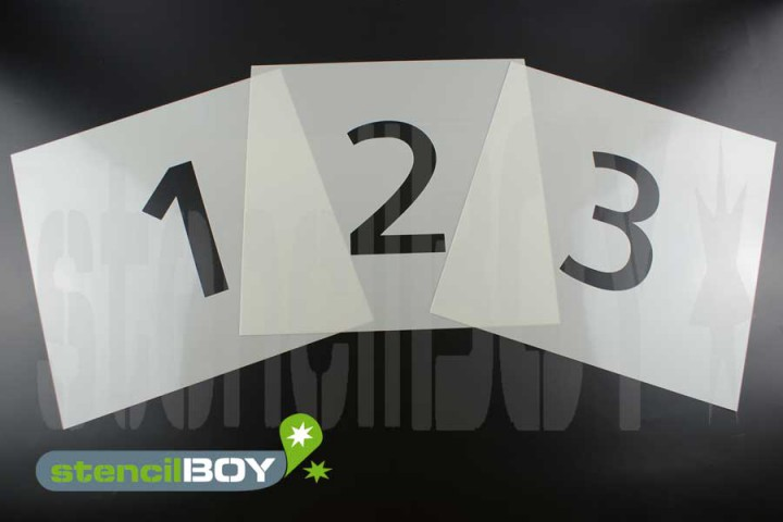 200mm Zahlenschablonen Font AL mit grossem Sprühnebelschutz