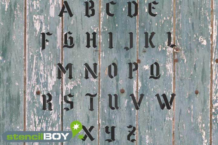 150mm Buchstabenschablonen Font GO mit Sprühnebelschutz