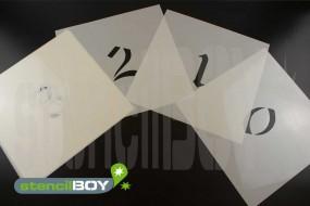 Zahlenschablonen 0-9 Stencilfont AD mit Sprühnebelschutz