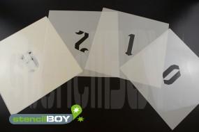 Zahlenschablone Font GO mit Sprühnebelschutz