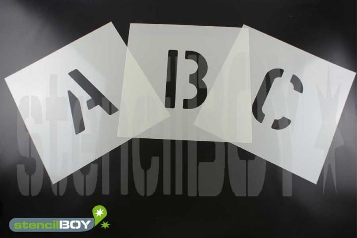 15-600mm Buchstabenschablonen A-Z Schrift AE mit Sprühnebelschutz, perfekt für kleine Schriften