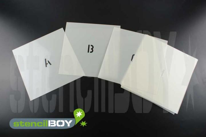 Einzel-Buchstabenschablonen Schrift AE mit Sprühnebelschutz, perfekt für kleine Schriften
