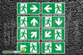 Notausgang und Richtungspfeil - Schablone