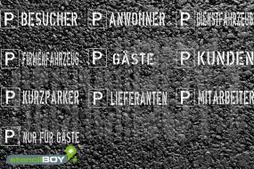Parkplatzschablonen, verschiedene Motive