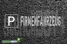 """""""PARKPLATZ - FIRMENFAHRZEUG"""" Bodenmarkierungs - Schablone"""