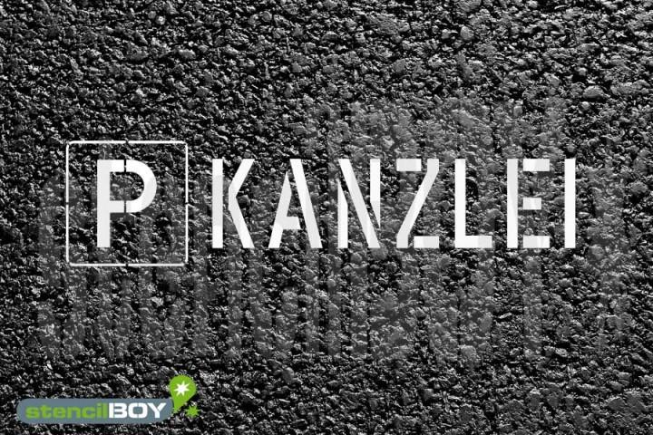 """""""PARKPLATZ - KANZLEI"""" Bodenmarkierungs - Schablone"""