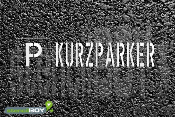 """""""PARKPLATZ - KURZPARKER"""" Bodenmarkierungs - Schablone"""
