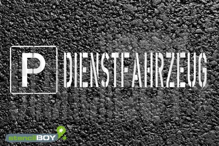 """""""PARKPLATZ - DIENSTFAHRZEUG"""" Bodenmarkierungs - Schablone"""