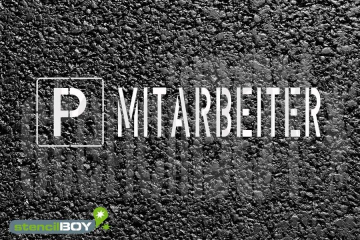 """""""PARKPLATZ - MITARBEITER"""" Bodenmarkierungs - Schablone"""