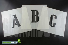 50-100mm Buchstabenschablonen Font CA mit Sprühnebelschutz