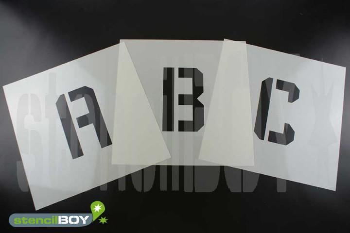 75mm Buchstabenschablonen Font KA mit Sprühnebelschutz