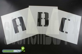 50mm Buchstabenschablonen Font BL mit Sprühnebelschutz