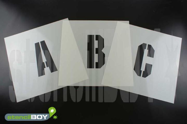 200mm Buchstabenschablonen Font KI mit Sprühnebelschutz