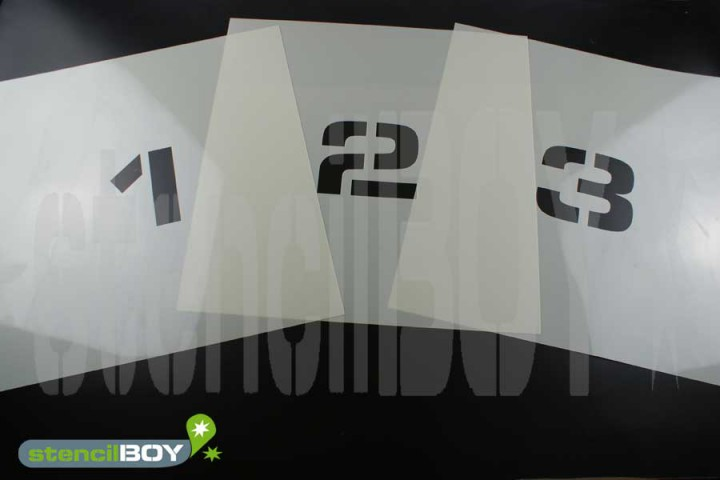 Zahlenschablonen 0-9 Font ESS mit Sprühnebelschutz