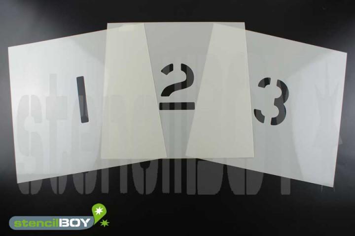 Zahlenschablonen 0-9 Font AE mit Sprühnebelschutz